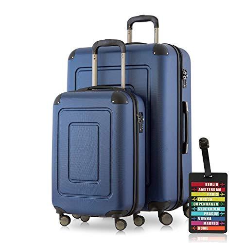 Happy Trolley - 2er Koffer-Set Trolley-Set Rollkoffer Hartschalen-Koffer Reisekoffer Lugano sehr leicht, TSA, (S+XL), Dunkelblau + Design Kofferanhänger