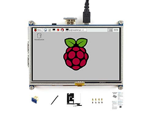 Waveshare Raspberry Pi 5 Inch HDMI LCD 800 * 480 High Resolution with Bicolor Bracket Case for Raspberry Pi A+/B+/2B/3B/3A+/3B+/Raspberry Pi 4