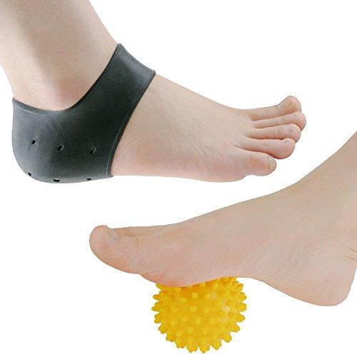 sumifun 3umfassende Plantarfasziitis Kit, Silikon Gel Sleeve, Massage Ball, Fuß Fußgewölbe, Ferse Pads, Knöchelbandage, lindern Fuß Schmerzen und Mittelfußknochen Schmerzen. (Heel Massage-gel Cups)