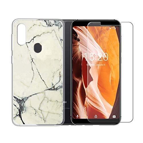 LJSM Hülle für UMIDIGI A3 Semi-Transparent + Panzerglas Displayschutzfolie Schutzfolie - Weich Silikon Schutzhülle Crystal Flexibel TPU Tasche Case für UMIDIGI A3 2018 (5.5