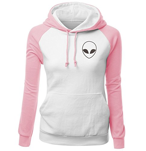 HUA&X Sweat-shirts femme Sweat fit Hat Strap Tops à manches longues Pull poche Pink White