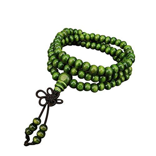 (Zilosconcy Frauen Schmuck6mm natürliches Sandelholz 108 Holzgebet Perlen Perlen Armband Schmuck 108 Imitation Prospekt Rosenholz Perlen Perlen mit Knoten grün Mode Hohl Lotus Blume Kristall Einfach)