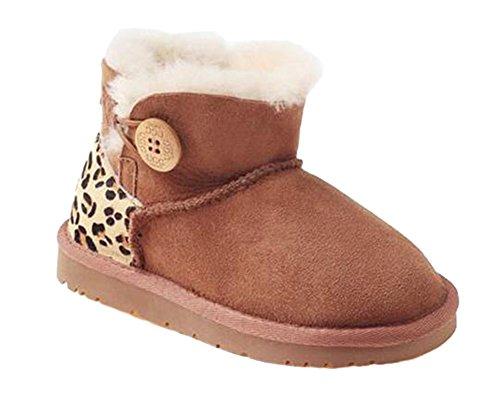 OZwear UGG Kurze Schneeschuhe Eine hölzerne Schnalle Kleinkind Leopard Stiefel Kastanieleopard (US Little Kid 2M/3M)(UK 1/2)(AU 2/3)(EU 32/33) (Kurze Uggs)