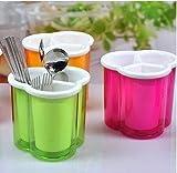 #1: GosFrid Kitchen Drain Box Drain Cutlery Storage Box Candy Color Three Grid Home Kitchen Spoon Chopsticks Drain Container Storage Box .RANDOM COLORS (PACK OF 1)