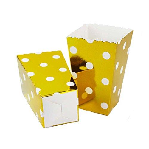 rty Papier Geschirr Popcorn Eimer Snack Tassen, Goldene Punkte ()