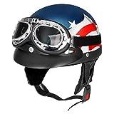 YONGYAO Retro-Usa-Flagge Motorrad Halbe Gesicht Helm Biker Scooter Mit Sonnenblende Uv Schutzbrille Cafe Racer