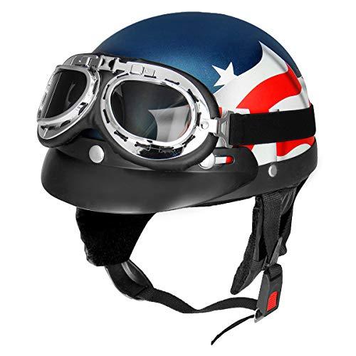 GOZAR retrò USA Bandiera Moto Scooter Mezzo Casco Biker con Visiera Parasole UV Occhiali Cafe R