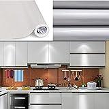 SOLDGOOD 5.5×0,61M Gris Papier Peint Autocollant Rouleau Adhésif Sticker Mural Etanche pour Armoire Cuisine Meuble Electroménager Carreaux Mur Verre en PVC (5.5M, Gris)