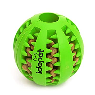 Idepet Dog Toy Ball, Nontoxic Bite Resistant Toy Ball for Pet Dogs Puppy Cat, Dog Food Treat Feeder Tooth Cleaning Ball,Dog Pet Chew Tooth Cleaning Ball Pet Exercise Game Ball IQ Training ball from Idepet