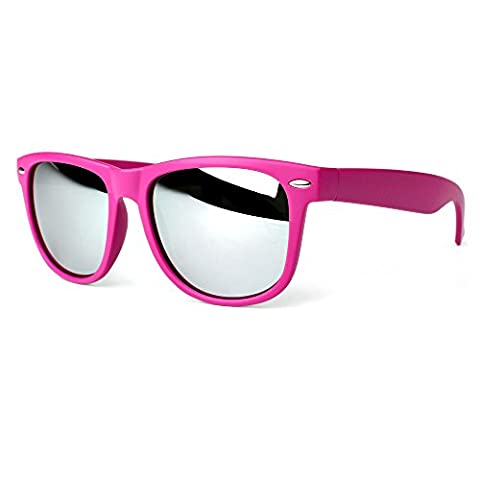 Distressed Blues Matt matte Sonnenbrille im Retro Wayfarer Stil 80er verspiegelt pink