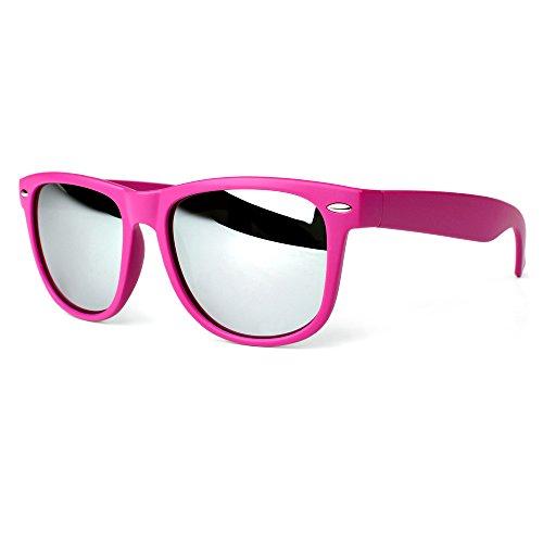 Distressed Blues Matt matte Sonnenbrille im Retro Wayfarer Stil 80er pink-silber