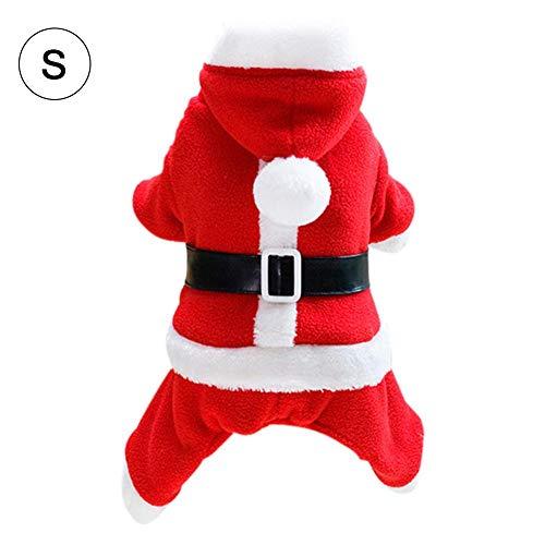 feiledi Trade Weihnachtskostüm Haustier Katze Hund Anzug mit Kappe Santa Claus Kostüm Hoodie Samt Mantel Jumpsuit Kleiner Hund Kleidung S M L XL - Santa Claus Anzug Kostüm