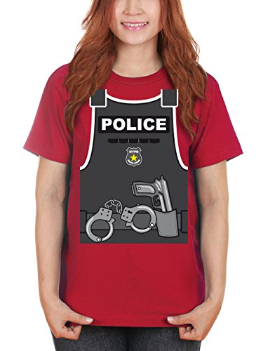 clothinx Damen T-Shirt Karneval Police Rot