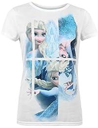 Disney Frozen–Camiseta de manga corta para mujer blanco y azul CHARACTER de manga corta T Shirt