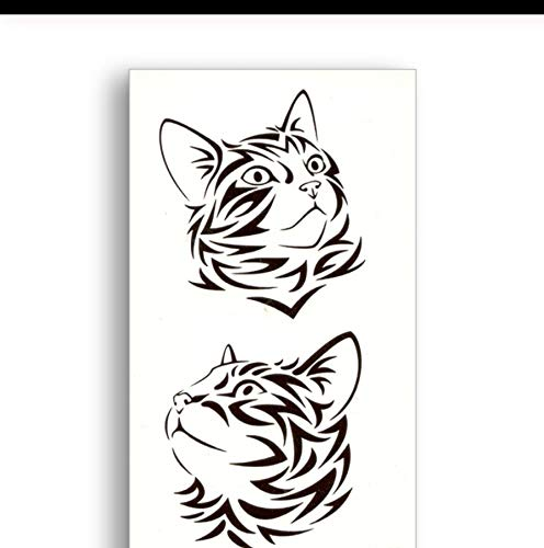 LFVGUIOP Schwarze Linien niedliche Katze Gefälschte temporäre Tätowierung Wassertransfer Sticker Beauty Einweg Body Art Cooles Make-up Live of Song pcs 3