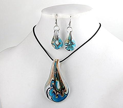 Ecloud Shop® Collier Boucles d'oreilles Blue Leaf Murano perles Murano FASHION