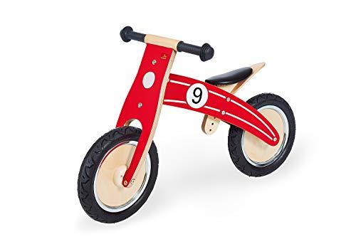 Pinolino Laufrad Nico, Laufrad Holz, unplattbare Bereifung, umbaubar vom Chopper zum Laufrad, empfohlen ab 2 Jahren, rot
