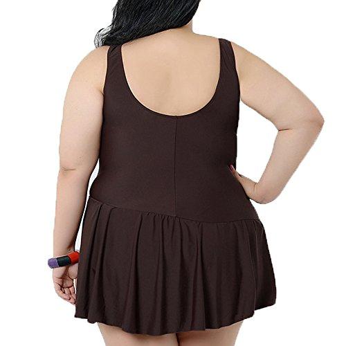 Spring fever Damen V Ausschnitt Badeanzug mit Röckchen einteiliger Schwimmanzug Bauchweg Bademode Größe Größen Badekleid Braun