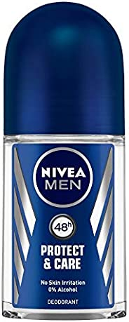 NIVEA Men Deodorant Roll On, Protect & Care, No Skin Irritation & 48h Freshnes
