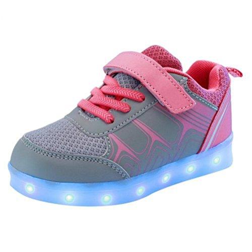 (Present:kleines Handtuch)JUNGLEST® Kinder Jungen Mädchen LED Light Sneakers Fluorescence Sp Rose