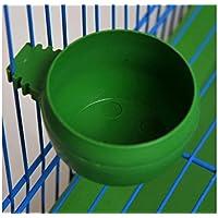 PanpA Sostenible Cuenco de Alimentación de Aves Vaso Redondo de plástico Vaso de Paloma de Loro Alimentador de Agua de Alimentos Tamaño M-Verde