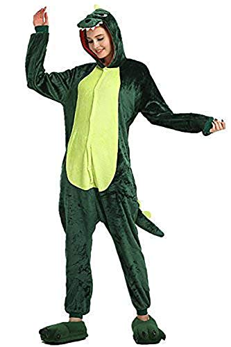 Rainbow Unicorn Unisex Erwachsene Dinosaurier Cosplay Pyjama Tiere Flanell Kostüme Party Overalls Halloween Karneval Neuheit Schlafanzug (Grün, L)