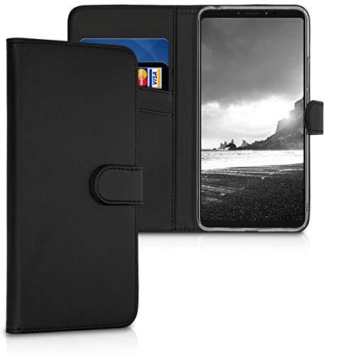 kwmobile Funda para Xiaomi Mi MAX 3 - Carcasa de [Cuero sintético] - Case con Tapa y [Tarjetero] en [Negro]