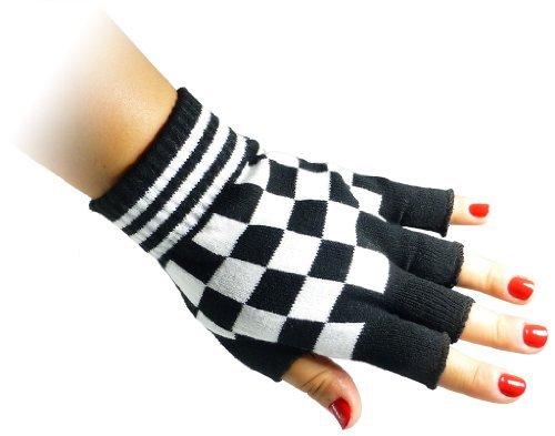 JTC Belt Unisex Half Finger Stretchy Fingerless Gloves One Size Fits Most Black & White Checkered
