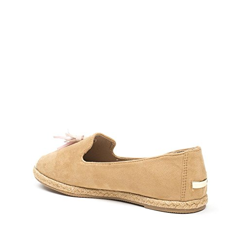 Ideal Shoes Slippers Effet Daim avec Franges Monica Camel