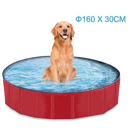 mewmewcat Hundepool Doggy Pool Faltbarer Schwimmbad Für Hunde Hündchen 160 * 30 cm Hundebad Für Kinder Den Hund Katze Geschenk Rot