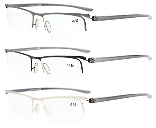 Eyekepper 3-Pack Tempio di plastica leggera Half-rim occhiali da lettura