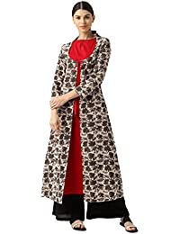 Jaipur Kurti Women Ethnic Casual Top Tunic Summer Dress Printed Layered A-Line Kurta (Red & Brown)