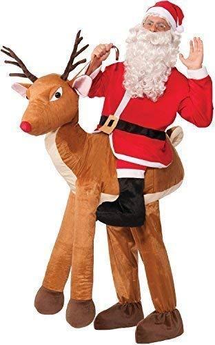 Fancy Me Herren Schritt Riding Rudolph Santa Weihnachtsmann Festlich Spaß Kostüm Kleid Outfit