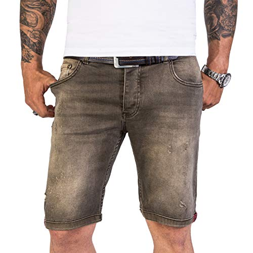 Rock Creek Herren Shorts Jeansshorts Denim Short Kurze Hose Herrenshorts Jeans Sommer Hose Stretch Bermuda Hose Grün RC-2149 Greenmoon W32