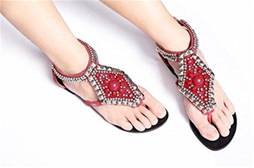 Fortuning's JDS I nuovi sandali cinghia vestito piatto perline comodi alla moda per le donne Rosso