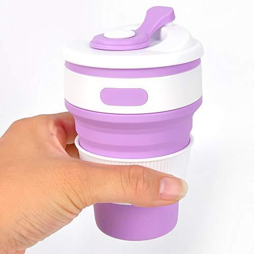 Modenny Falten Wasserflasche Dicht Outdoor Tragbare Camp Cup Teleskop Wasch Mundschale Kompression Trinkflaschen (Color : Purple)