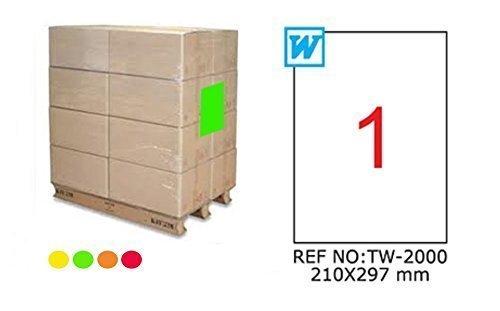 TANEX TW-2000 fluorescente Envío Etiquetas de palet rojo 210 x 297 mm -eckig- 25 Bloque A4
