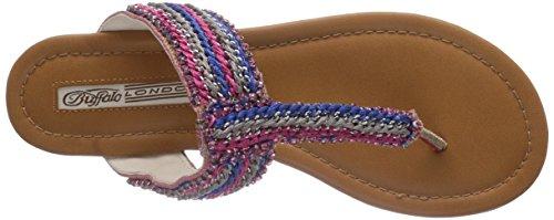 Buffalo London  314-4787 MESH FABRIC, Tongs pour femme - Multicolore - Mehrfarbig Multicolore - Mehrfarbig (ORANGE 01)