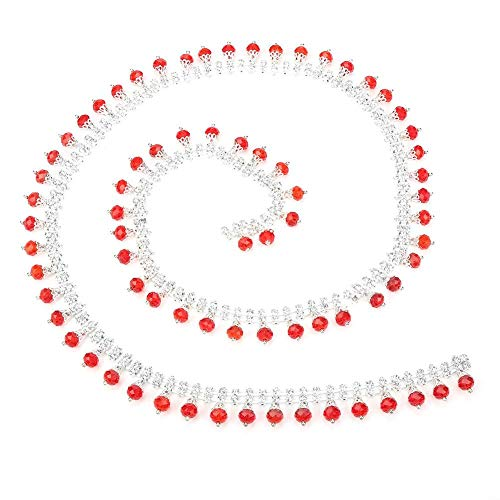 2 cm Breite Strass Band Sparkle Diamond Wrap Roll Dekoration für Frauen Kleid Halskette Schuhe(Red) ()