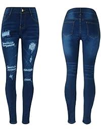 QinMM Femmes Sexy Trous Jeans Skinny Slim Longues Pantalons, Déchiré Denim  Ripped Pencil Pants Coton 38f92b10e0ec