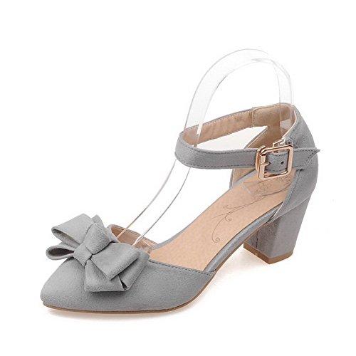 AgooLar Femme Suédé à Talon Correct Pointu Couleur Unie Boucle Chaussures Légeres Gris