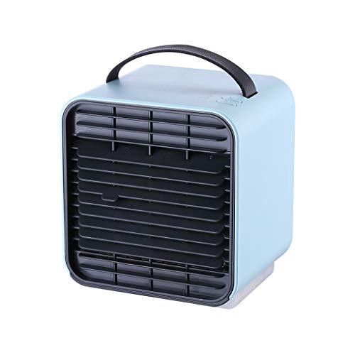 Deloito Sommer Kreativ Tischventilator Anion Schüler Nachtlicht Klimaanlage Ventilator 3 Geschwindigkeit Verstellbar Mini Lüfter 2000mAh Batterie-Kapazität (Blau) - Serien-ersatz-desktop-pc