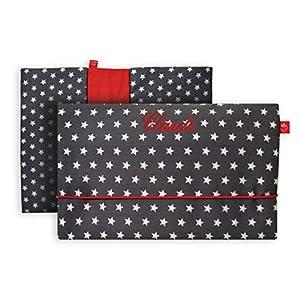 Windeltasche mit Namen für unterwegs in dunkelgrau mit Sternen (bag in bag - Geburtsgeschenk Junge Mädchen personalisiert)