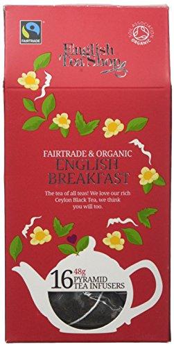 English Tea Shop Organic Fairtrade English Breakfast - 16 pyramid Tea bags (Pack of 6)