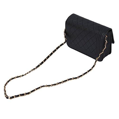 TOOGOO(R) Frauen Handtasche Frauen Messenger Taschen Kette Schultertasche Frauen Leder Handtaschen weiss Schwarz