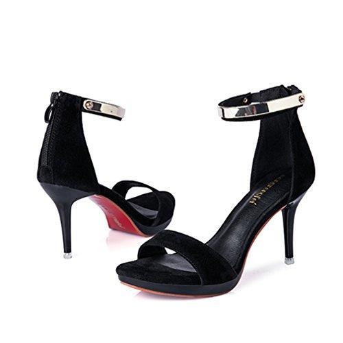 Damen Sandalen Nubukleder Peep-toe Stilettos Metallic Knöchelriemchen High Heels Reißverschluss Einfache Modische Sandaletten Schwarz