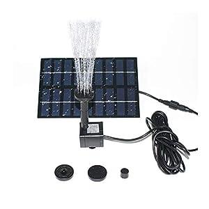 Gocheer Bomba de Agua Solar Sumergible, Independiente y Flotante, de 1.8W, con 4 rociadores para Diferentes flujos de…