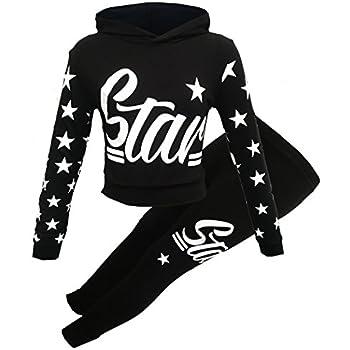 e43c425d8dc5 Girls Star Printed Long Sleeve Hooded top & Bottom Set Kids Tracksuit  (Black Star, 9-10 Years)