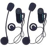 niceEshop(TM) étanche 800 Mètres de Portée de Communication sans Fil Bluetooth Interphone pour la Moto Ski Atv Vélo ( Fiche Européenne, Paquet de 2)