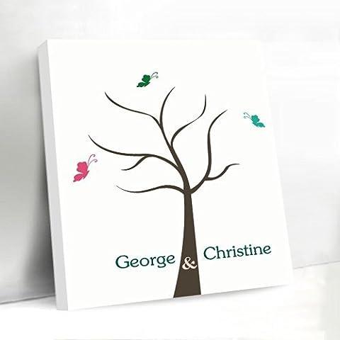 Personalizado libro de invitados para boda señal árbol de huellas digitales almohadilla de tinta de lona con nombre y fecha para novia ducha